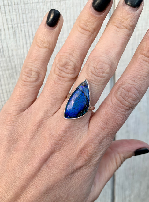 Large Sparkly Free Form Navy Blue  Monarch Sterling Opal Statement Ring