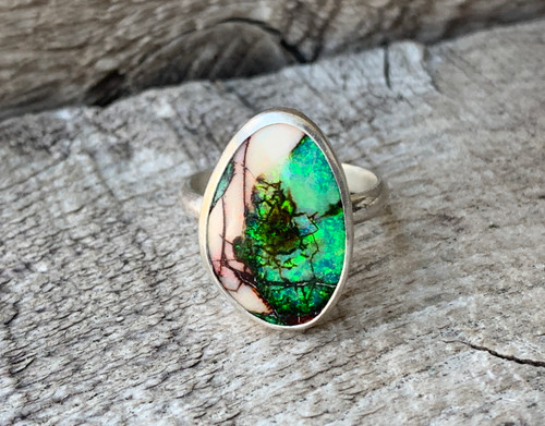Brilliant Pink Green Free Form Monarch Sterling Opal Ring
