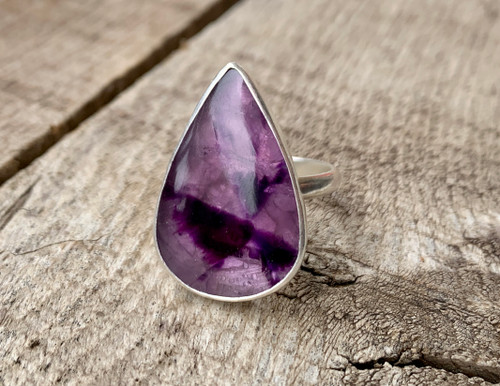 One of a Kind Dark Purple Teardrop Apex Amethyst Sterling Silver Statement Ring