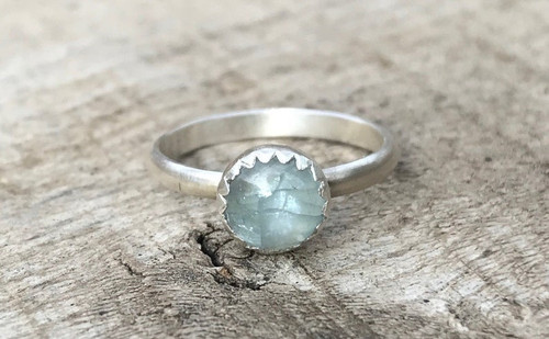 Natural Round Light Blue Aquamarine Sterling Silver Solitaire Ring | March Birthstone Ring | Aquamarine Sterling Silver Ring | Silver Ring