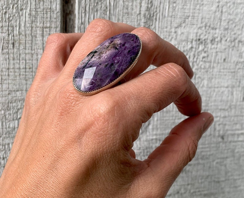 Faceted Large Oval Purple Charoite Sterling Silver Statement Ring | Charoite Ring | Purple Gemstone Ring