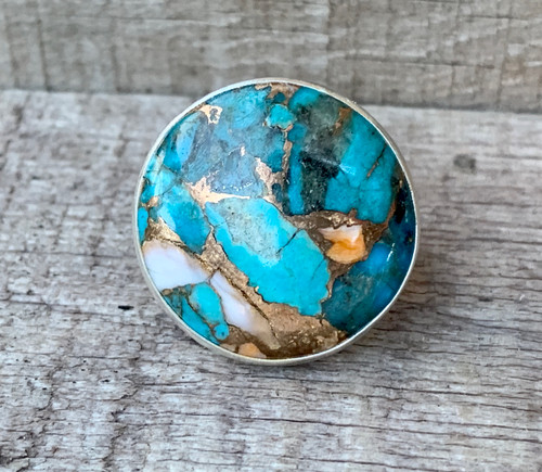 Large Round Spiny Oyster Copper Turquoise Sterling Silver Ring with Hammered Band