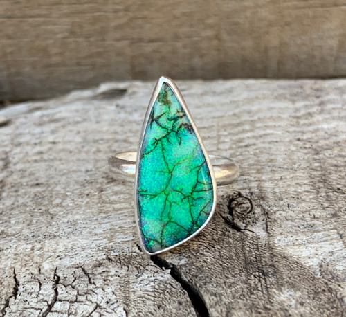 Sparkling Green Blue Free Form Monarch Sterling Opal Ring