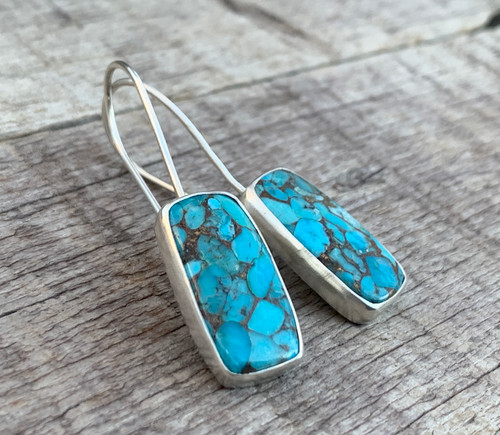 Sterling Silver Blue Turquoise Dangle Earrings | December Birthstone | Turquoise Earrings