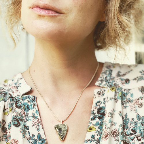 Edgy Pyrite Geode Druzy Sterling Silver Statement Necklace | Pyrite Pendant