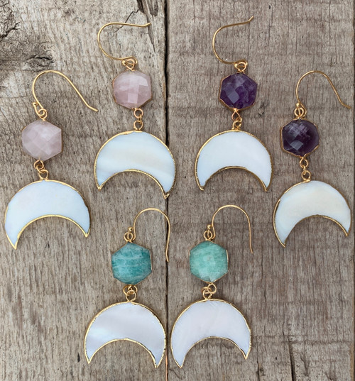 White Mother of Pearl Crescent Half Moon Earrings with Accenting Faceted Gemstone Stud