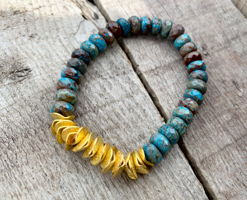 Faceted Blue Ocean Jasper Beaded Bracelet with 14 Karat Gold Plated Textured Washer Discs