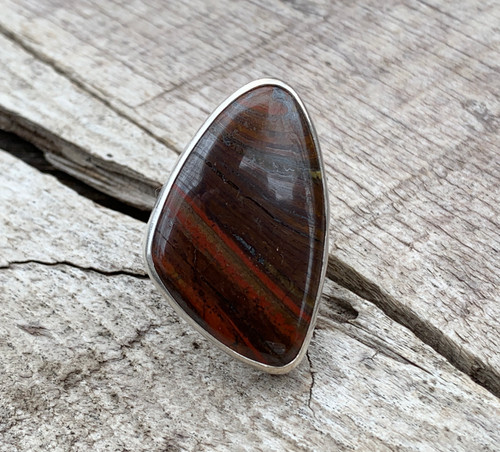 One of a Kind Large Free Form Iron Tiger Eye Sterling Silver Ring | Statement Ring
