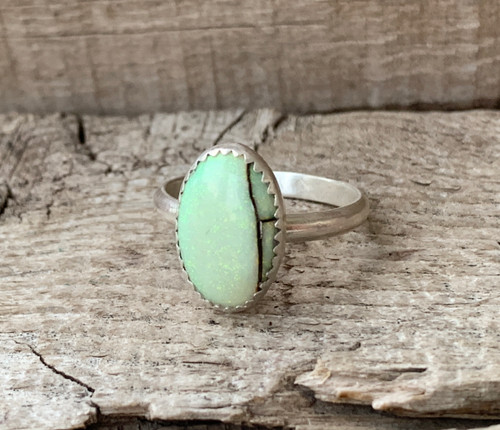 Classic Yellow and Light Green Monarch Sterling Opal Chatoyant Gemstone Ring | October Birthstone Jewelry