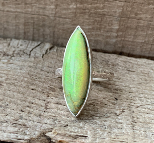 Elegant Marquise or Eye Shaped Monarch Sterling Opal Ring with Patterned Ring Band