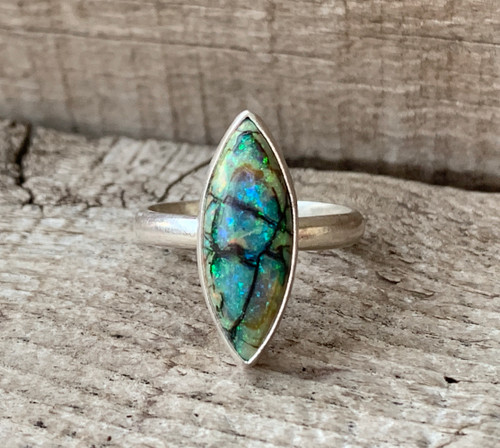 Multi Colored Small Marquise or Eye Shaped Monarch Sterling Opal Ring