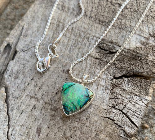 Sparkling Green Blue Trillium Monarch Sterling Opal Pendant Necklace |  Triangle Pendant