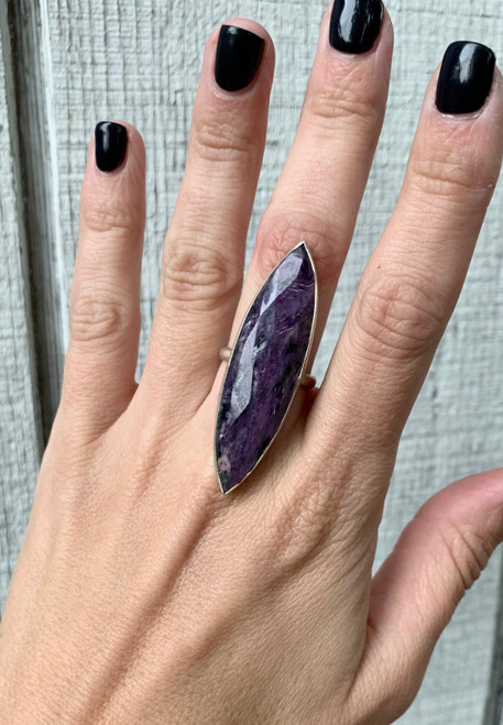 Faceted Large Marquise Purple Charoite Sterling Silver Statement Ring | Charoite Ring | Purple Gemstone Ring