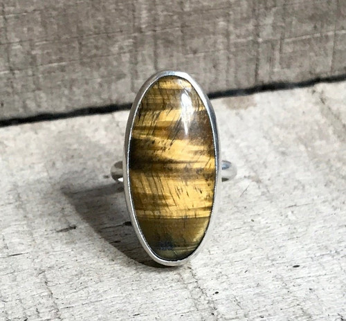 Large Elongated Oval Brown Tiger Eye Sterling Silver Statement Ring | Tiger Eye Ring | Boho | Gifts for Her | Healing Crystal Ring