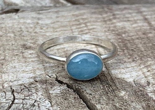 6x8 Aquamarine Sterling Silver Ring