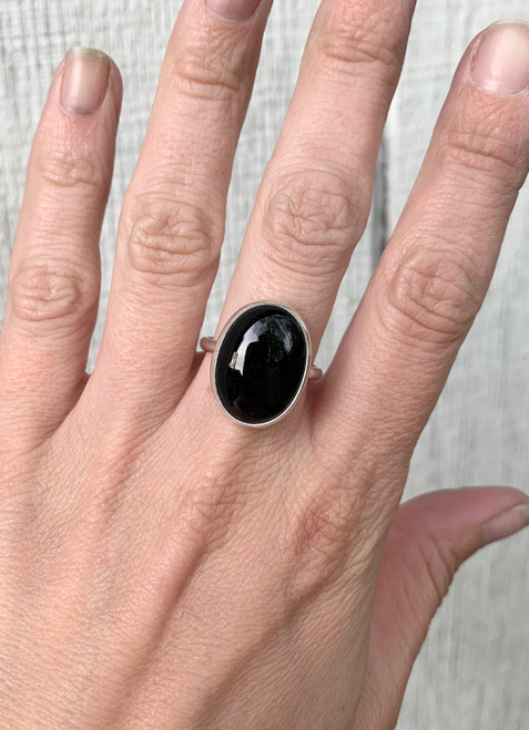 Elegant Oval Black Onyx Sterling Silver Ring