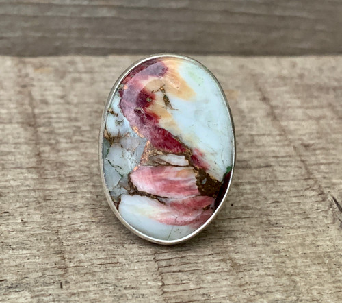 Oval Purple and White Dahlia Copper Turquoise Sterling Silver Ring