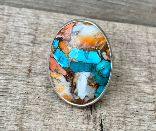 Oval Spiny Oyster Copper Turquoise Sterling Silver Ring