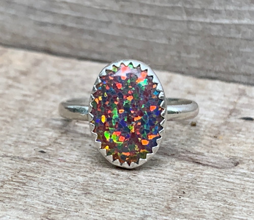 Large Oval Simulated Fire Opal Elegant Birthstone Ring in Sterling Silver | Opal Ring | Boho | Rocker | October Birthstone Ring