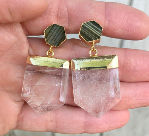 Crystal Quartz and Labradorite Gold Dipped Statement Earrings