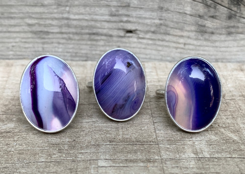 Large Oval Purple Blue Psychedelic Agate Sterling Silver Ring