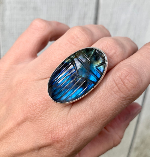 Large Oval Handcarved Scarab Flashy Blue Labradorite Ring