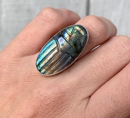 Large Oval Gray Rainbow Labradorite Hand Carved Scarab Sterling Silver Ring