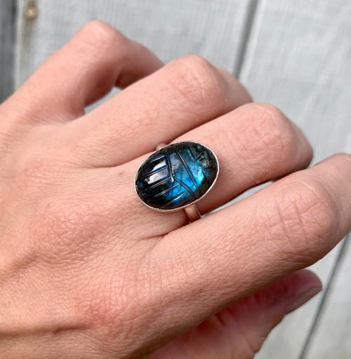Elegant Hand Carved Scarab Flashy Blue Labradorite Ring | Egyptian Beetle Ring