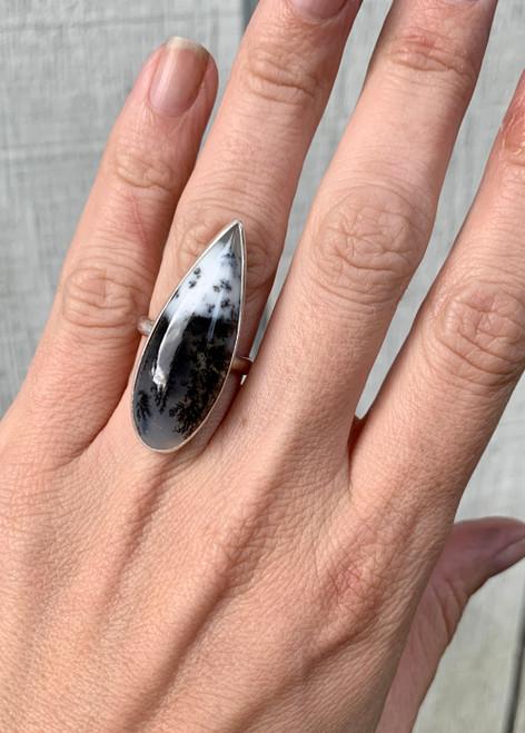 Elegant Teardrop White and Black Dendrite Opal Sterling Silver Ring