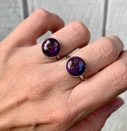 12mm Round Elegant Dark Purple Blue Copper Turquoise Sterling Silver Ring | December Birthstone | Mojave Turquoise