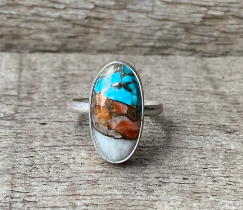 Dainty Oval Spiny Oyster Copper Turquoise Sterling Silver Ring