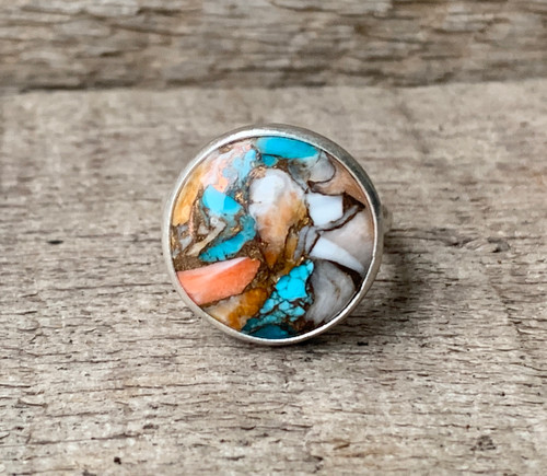 Round Spiny Oyster Copper Turquoise Sterling Silver Ring