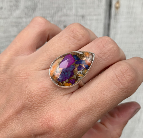 Large Teardrop Purple and Orange Dahlia Copper Turquoise Sterling Silver Ring