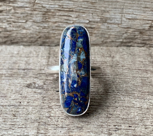 Elegant Rectangle Cushion Cut Navy Blue Lapis Lazuli and Copper Sterling Silver Ring