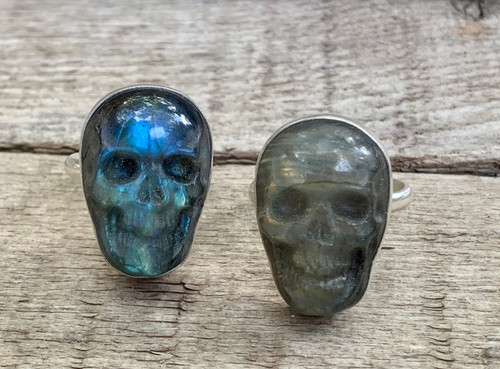 Spooky Labradorite Hand Carved Skull Sterling Silver Statement Ring