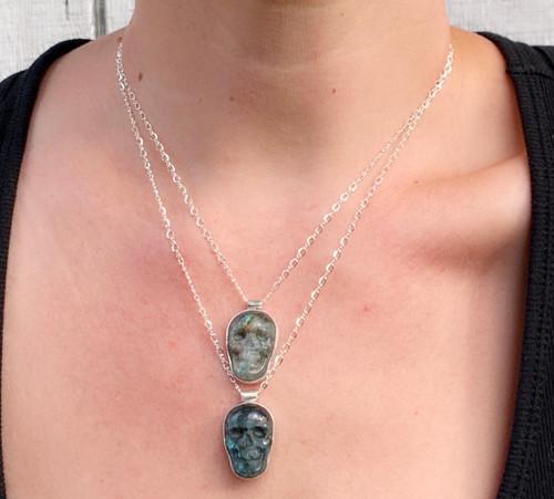 Spooky Labradorite Hand Carved Skull Sterling Silver Pendant Necklace