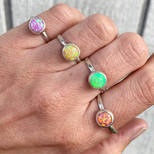 Bright Sparkly 8mm Simulated Opal Solitaire Sterling Silver Ring | October Birthstone Ring | Pink Opal Ring