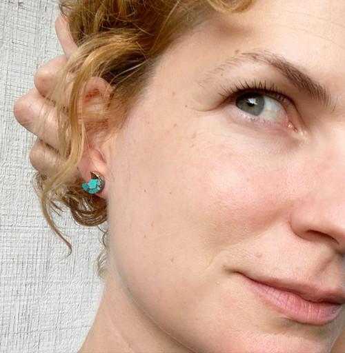 Turquoise Half Moon 14 Karat Gold Electroplated Stud Earrings