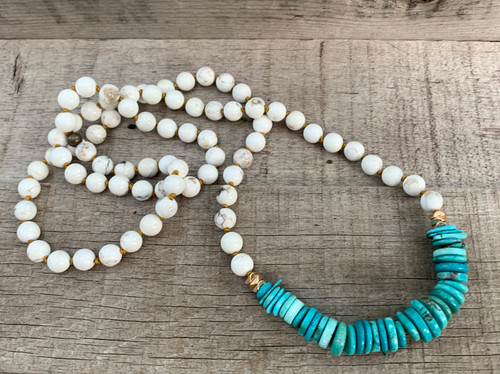 Long Beaded White Howlite Turquoise and Bright Blue Tibetan Turquoise Gold Necklace