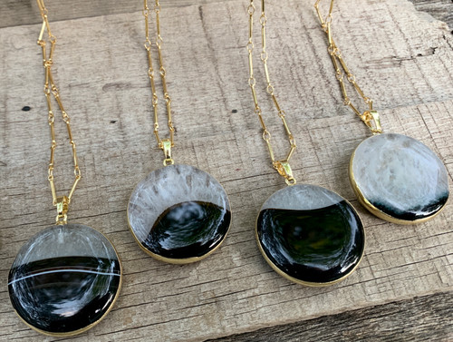 Large Round Black and White Crystal Agate Gold Wrapped Necklace