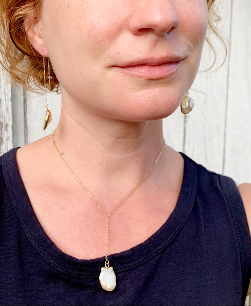 Luminescent Free Form White Freshwater Pearl Earrings and Lariat Necklace