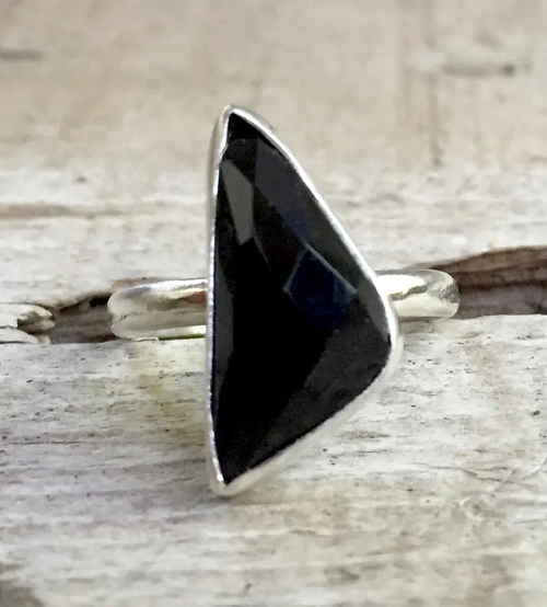 Geometric Free Form Faceted Black Spinel Sterling Silver Statement Ring | Geometric Ring