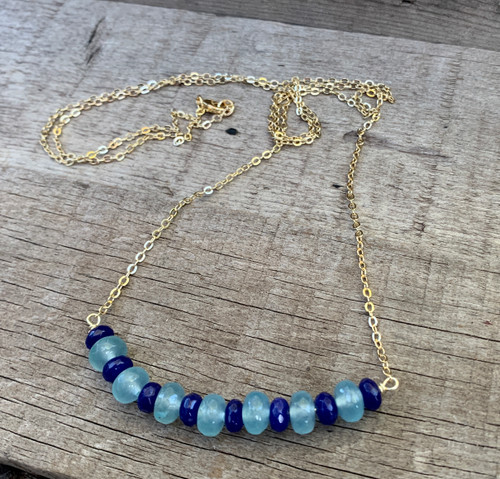 Faceted Rondelle Dark Blue Lapis Lazuli and Light Blue Chalcedony Beaded Necklace
