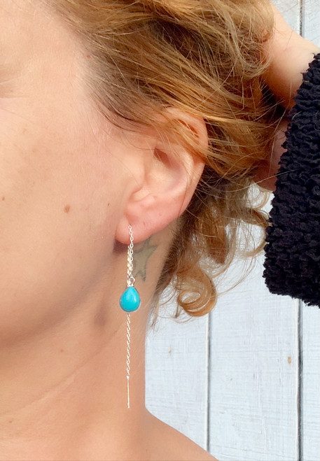 Elegant Teardrop Sterling Silver Tibetan Turquoise Blue Ear Threaders