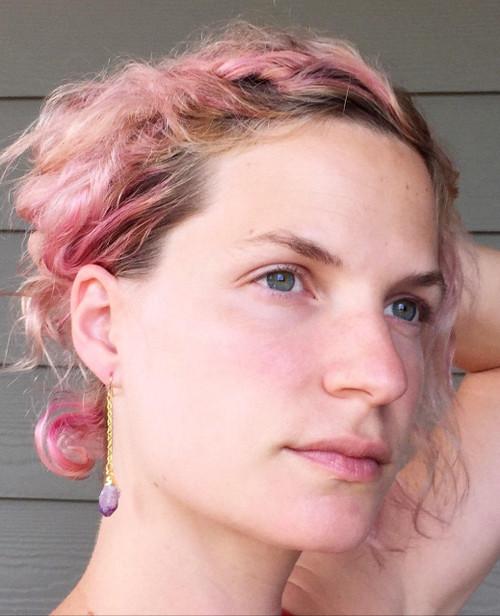 Boho Rocker Chic Gold Amethyst Crystal Point Earring | Amethyst Earrings | Long Gold Amethyst Earrings | Boho | Rough Amethyst Earring