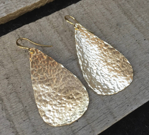 Boho Gypsy Teardrop Hammered Texture Gold Brass Earrings | Dangle Earrings | Oxidized Copper Hammered Earrings | Silver Hammered Earrings