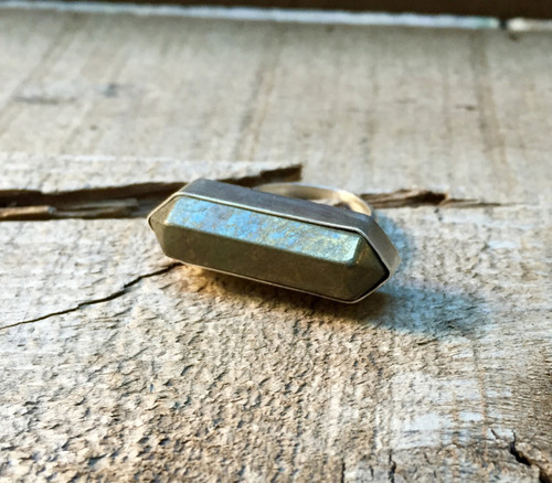 Geometric Hexagon Golden Pyrite Wand Double Terminated Point Horizontal Ring in Sterling Silver