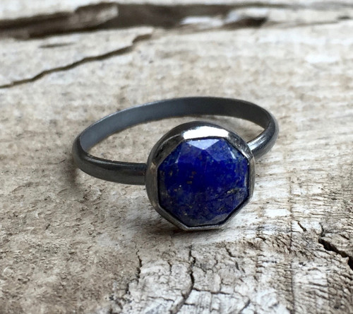 Geometric Cobalt Blue Lapis Lazuli Octagon in Dark Patina Oxidized Sterling Silver or Bright Sterling Silver Ring | Lapis Lazuli Ring