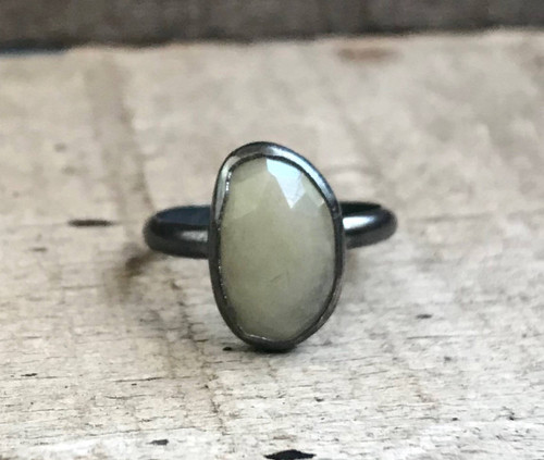Free Form Light Yellow Faceted Sapphire in Sterling Silver Patina or Oxidized Finish | Engagement Ring | Sapphire Ring | Gunmetal Ring