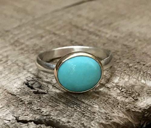 Bright Blue Turquoise 14 Karat Gold and Sterling Silver Solitaire Ring | Turquoise Ring | Mixed Metals Ring | Engagement Ring | Promise Ring